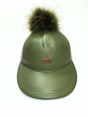 Australia Luxe Collective Baseball Cap olive green leather