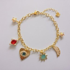 Ausverkauft! 130€ Swarovski Lucky Goddess BettelArmband charms gold Herz Auge symbolic
