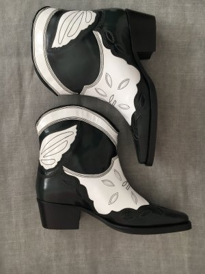 Ganni Western Booties white leather