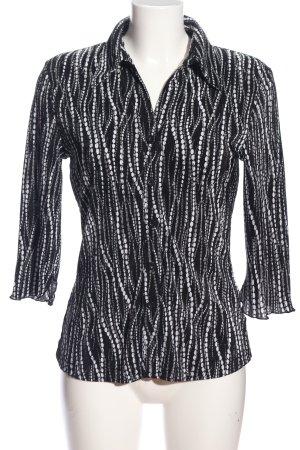 Authentic Blouse-chemisier noir-blanc motif abstrait style décontracté