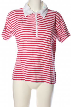 Authentic Polo Shirt red-white striped pattern casual look