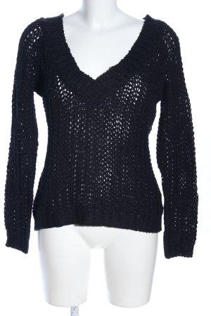 Authentic Style Pull en crochet noir style décontracté