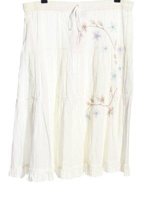 Authentic Style Midi-rok wit bloemenprint casual uitstraling