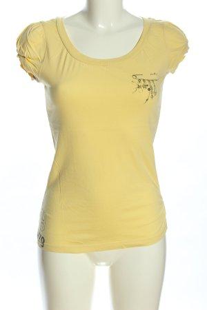Authentic Style Print-Shirt blassgelb-schwarz Casual-Look