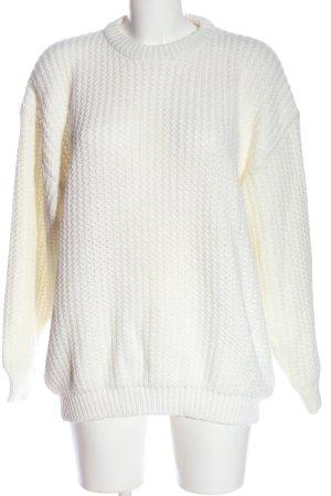 Authentic Style Gebreide trui wit kabel steek casual uitstraling