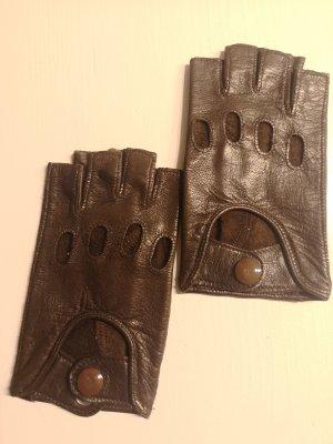 Made in Italy Guantes sin dedos marrón oscuro Cuero