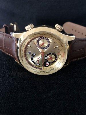 braun Zegarek ze skórzanym paskiem złoto-ciemnobrązowy Skóra