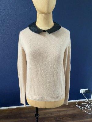 Autumn 100% Cashmere Pullover mit Kunstlederkragen Gr. M top