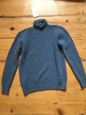 Avant Toi Sweter z golfem stalowy niebieski Kaszmir