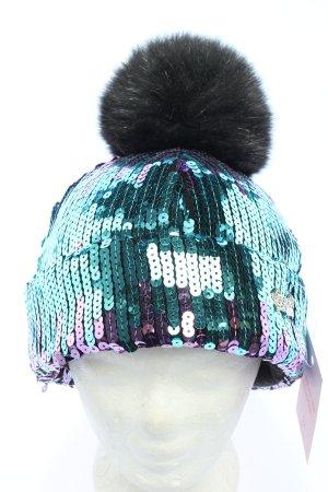 Avanti Bonnet à pompon turquoise-violet pailleté
