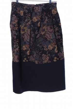 Avelon Jupe mi-longue noir-brun motif de fleur style décontracté