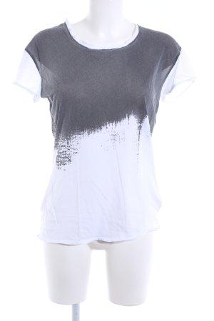 Avelon T-shirt blanc-gris imprimé avec thème style mode des rues