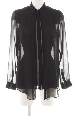 Avelon Transparenz-Bluse schwarz Allover-Druck Elegant