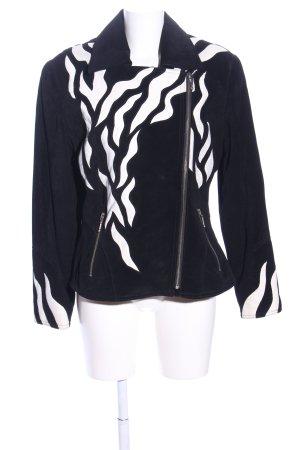 Giacca in pelle nero-bianco motivo astratto elegante