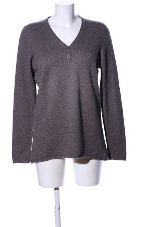 Avenue Foch Pullover in cashmere grigio chiaro puntinato stile casual