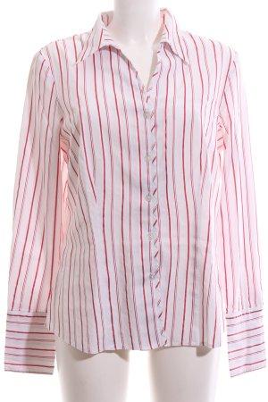 Avitano Shirt met lange mouwen wit-rood gestreept patroon casual uitstraling