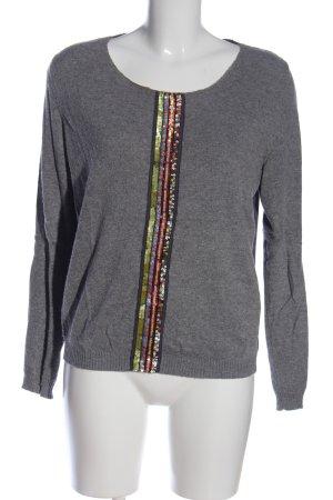 Avoca Kraagloze sweater lichtgrijs gestippeld casual uitstraling