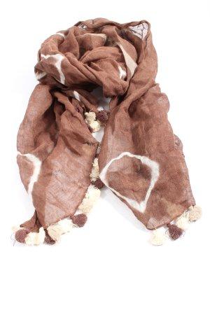 AW Accessoires Sciarpa con frange marrone-bianco motivo astratto elegante