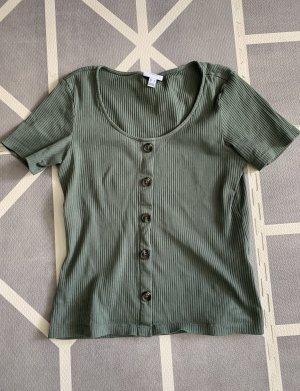 Vero Moda Prążkowana koszulka khaki