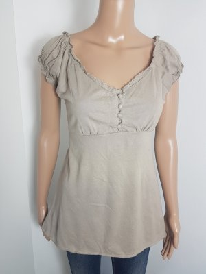 AWG Damen Babydoll Top Shirt Longshirt beige Größe M Häkelspitze