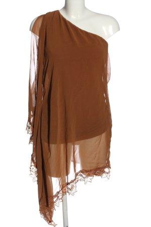 AX Vestido de un hombro marrón estilo extravagante