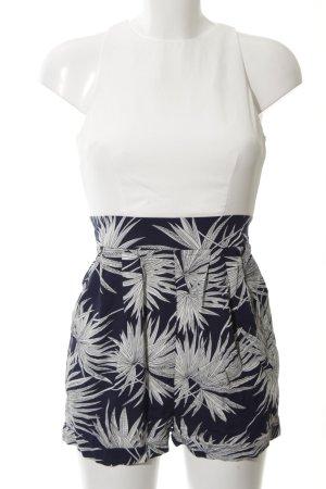 AX Paris Combinaison blanc-bleu imprimé allover style décontracté