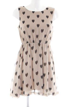AX Paris Minikleid beige-schwarz Herzmuster Elegant