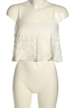 AX Paris Haut en dentelle blanc motif de fleur style décontracté