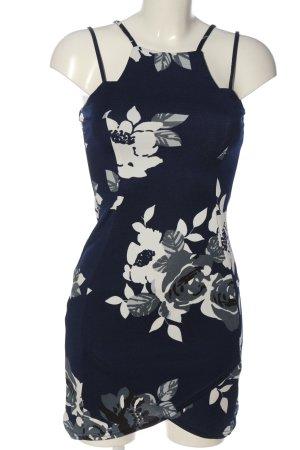 AX Paris Robe à bretelles bleu-blanc imprimé allover style décontracté