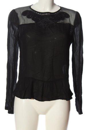 Axara Langarm-Bluse schwarz Casual-Look