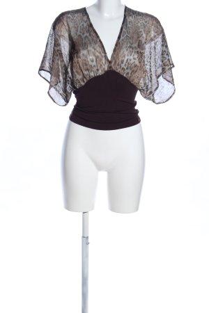 Axara Transparenz-Bluse braun Animalmuster extravaganter Stil