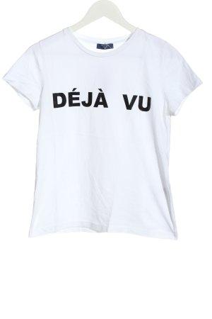 Aygill's Koszulka z nadrukiem biały-czarny Wydrukowane logo W stylu casual