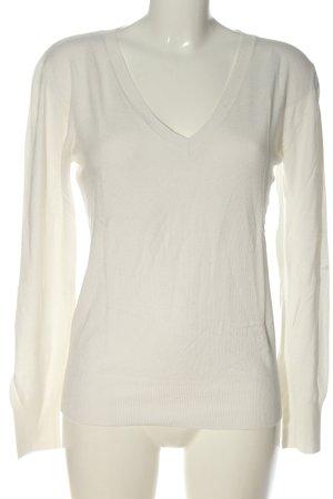 Aygill's Sweter z dekoltem w kształcie litery V biały W stylu biznesowym