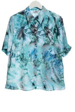 AZ Modell Chemise à manches courtes bleu motif abstrait style d'affaires