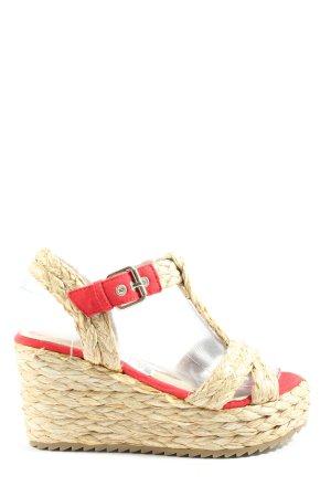 azarey Sandalo con plateau bianco sporco-rosso punto treccia stile casual