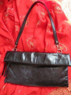 B.Bags Italy Ledertasche mit Umschlag - Schwarze Handtasche - Clutch Echtleder