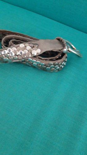 B Belt Cinturón de cuero gris claro