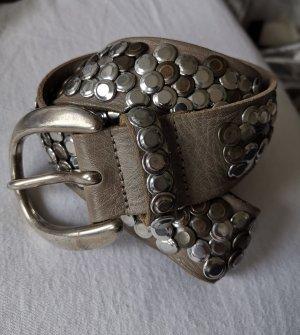 Studded riem grijs-bruin-zilver Leer