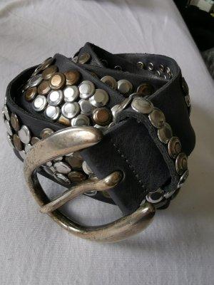 Studded riem zwart-zilver Leer