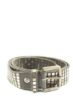 B Belt Cinturón de cuero color plata brillante