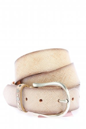 B Belt Leather Belt natural white-brown striped pattern casual look