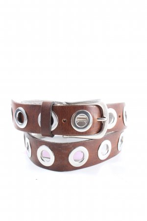 B Belt Leather Belt brown-silver-colored casual look