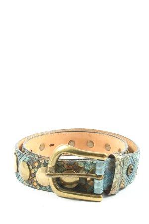 B Belt Cintura borchiata turchese-marrone motivo astratto stile casual