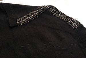 Best Connections Maglione a maniche corte nero-argento Tessuto misto