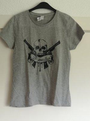 B&C collection T-shirt imprimé gris coton