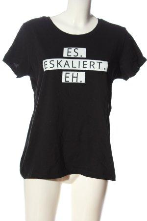 B&C collection Print-Shirt schwarz-weiß Schriftzug gedruckt Casual-Look