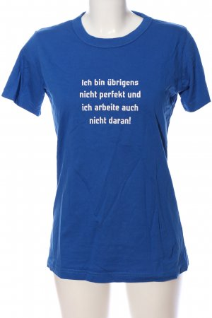 B&C collection T-Shirt blue-white printed lettering casual look
