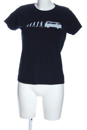 B&C collection T-shirt noir-blanc imprimé avec thème style décontracté