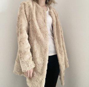 B.C Heine Jacke Mantel Kunstpelz Fake Fur beige 36 S