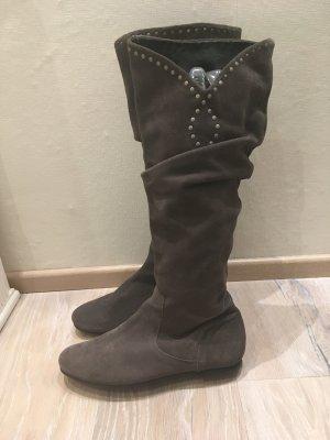 Heine Botas slouch gris-gris oscuro Cuero